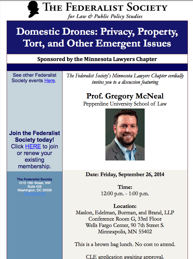 Domestic Drones: FAA Regulations, Privacy, Property, Tort and Other Emergent Issues featuring Professor Gregory S. McNeal